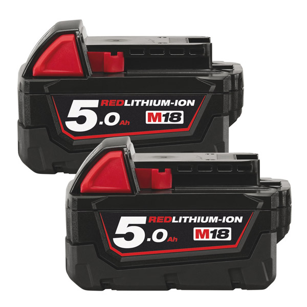 Milwaukee M18B5/2 Twin pack of 5Ah Red Lithium Ion Batteries