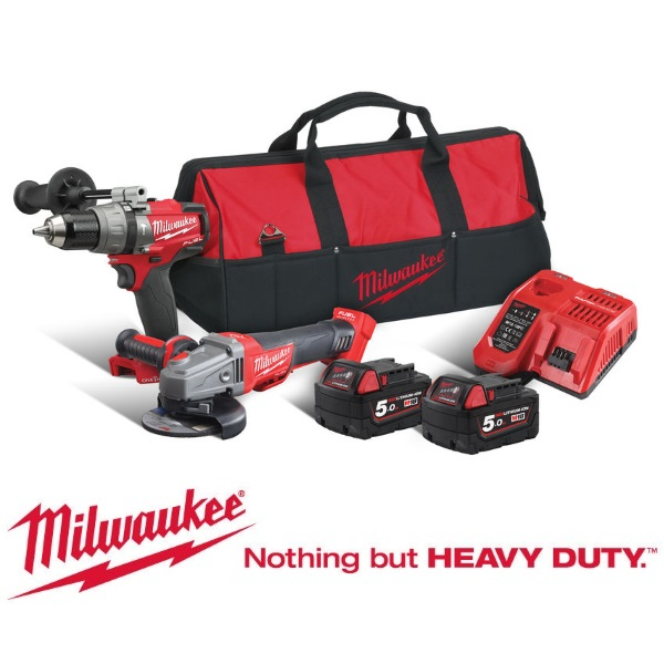 Milwaukee 18v M18ONEPP2M-502B Fuel Combi Kit with 2 x 5Ah Batteries