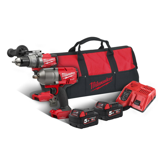 Milwaukee M18ONEPP2L-502B M18ONEPD & M18ONEFHIWF Twin Kit 2 X 5Ah Batteries