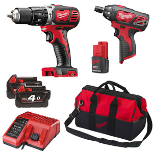 Milwaukee M18SET2J-423B 12V/18V Percussion Drill/Driver Kit