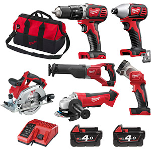 Milwaukee 6 Piece Combo Brushed Tool Kit M18BPP6A-402B