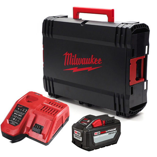 Milwaukee M18HNRG-122 Fast Charger 12V HD Battery and Case