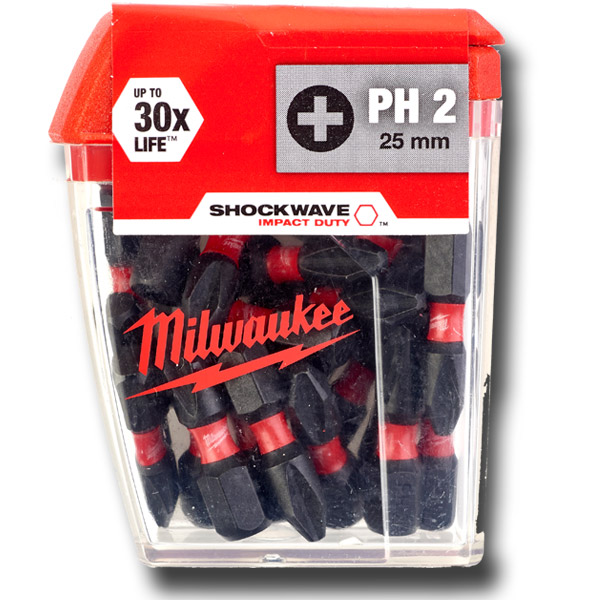 Milwaukee 4932430853 Shockwave 25 Piece PH2 25mm Screwdriver Bits