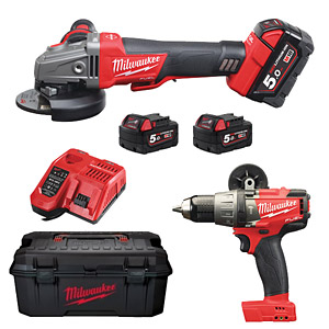 Milwaukee M18SET2H-503W Twin Pack (M18FPD, M18CAGXPDB115, 3 x 5.0Ah)