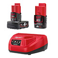 Milwaukee M12 Battery and Charger Kit (1 x 2.0Ah + 1 x 4.0Ah)