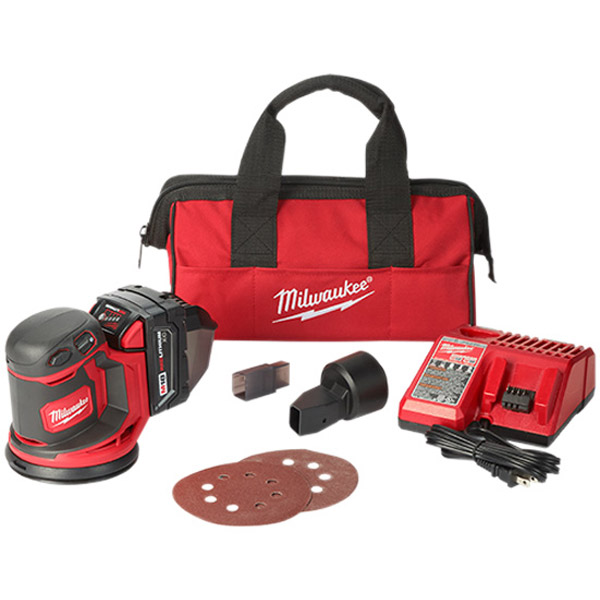 Milwaukee M18BOS125-502B 18V Random Orbit Sander Kit w/ 2 x 5.0Ah Batteries