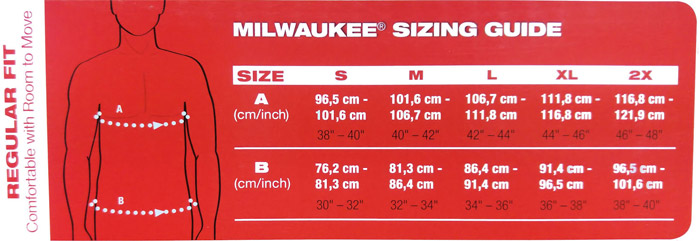 Heated Jacket Sizes