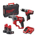 Milwaukee M12CPP2B-402C M12 Fuel SDS/Percussion Drill Twin Pack Kit