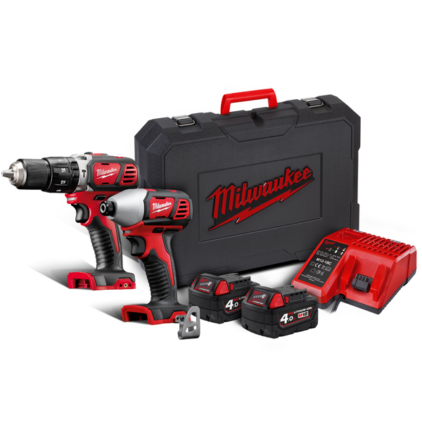 Milwaukee Brushed M18BPP2C-402C Drill & Driver Twin Pack (2 x 4Ah)