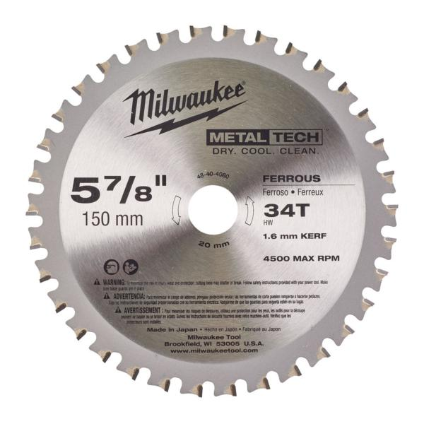 "Milwaukee 48404080 150mm(6"") 20B 34T C/SAW BLADE"