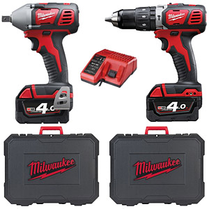 Milwaukee M18BPP2K-402C Drill/Impact Wrench Twin Pack