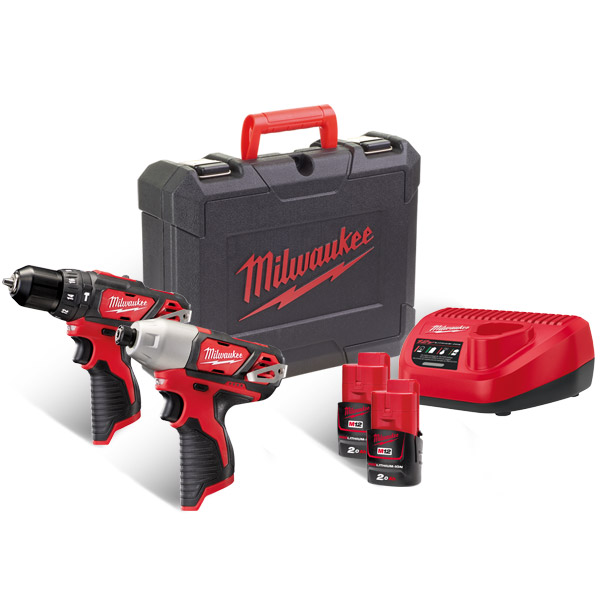 Milwaukee 12v Brushed Combi & Impact Drill Kit M12BPP2B-202C (2 x 2Ah)