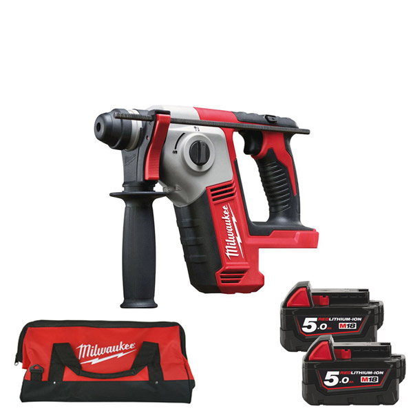 Milwaukee 18v Compact Brushed SDS Drill Kit with 2 x 5Ah Batteries, Charger and Bag M18BH-502